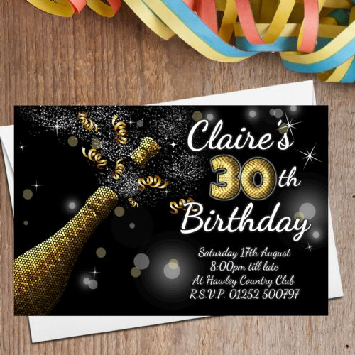 10 Personalised Black & Gold Champagne Burst Birthday Party Invitations N209 - Any age 18th 21st 30th 40th 50th 60th